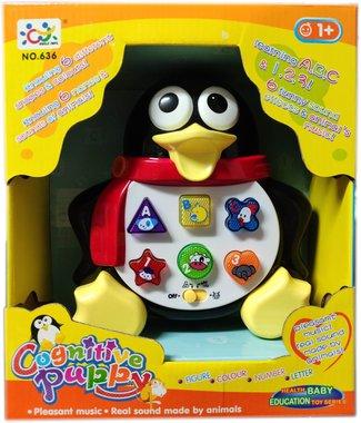 Детска играчка Познавателен телефон със светлина и звук с форма на Пингвин.