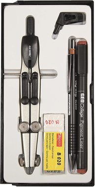 Комплект за геометрия Aristo School Set 2 80068 метален пергел молив тънкописец държач и гума
