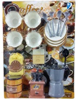 Детска играчка комплект Кафеварка, кафемелачка и сервиз за кафе