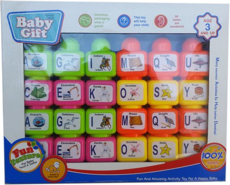 Детски комплект с 24 пластмасови кубчета с картинки, букви и думи
