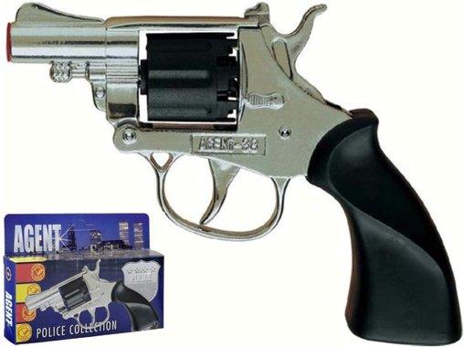 Детски метален револвер Villa Giocattoli 1580 Agent 38 с капси пистолет