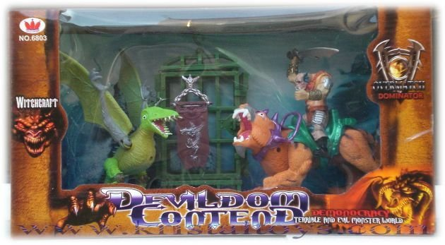 Детска играчка Комплект Дракон, звяр, клетка и смел воин, за момчета