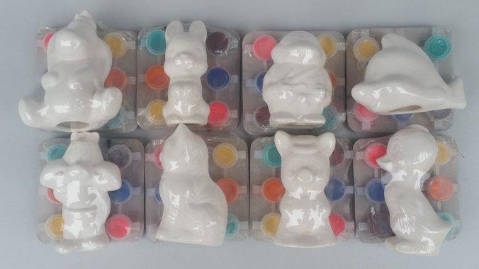 Комплект гипсова фигура за оцветяване с различни форми на животни - асорти