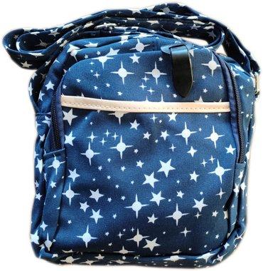 Чанта за рамо с два ципа и с дълга дръжка Звезди в синьо