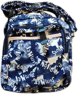 Чанта за рамо с два ципа и с дълга дръжка Лято в синьо