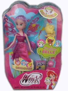 Кукла Уинкс с лилава коса и с домашен любимец Winx