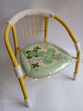 Стол детски с метални крака, облегалка и картинка в жълто