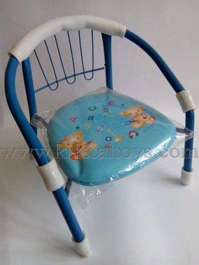 Стол детски с метални крака, облегалка и картинка в синьо