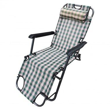 Сгъваем къмпинг стол 125х60х78  зелено каре