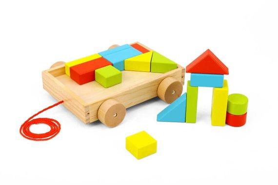 Детско дървено ремарке Tooky Toy TKB369A дървена играчка