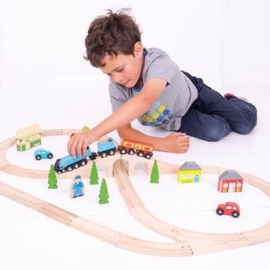 Детски дървен влак с релси Bigjigs Rail BJT027 локомотив