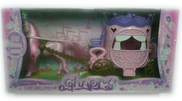 Детска играчка Каляска със специална форма и с кон с богата грива