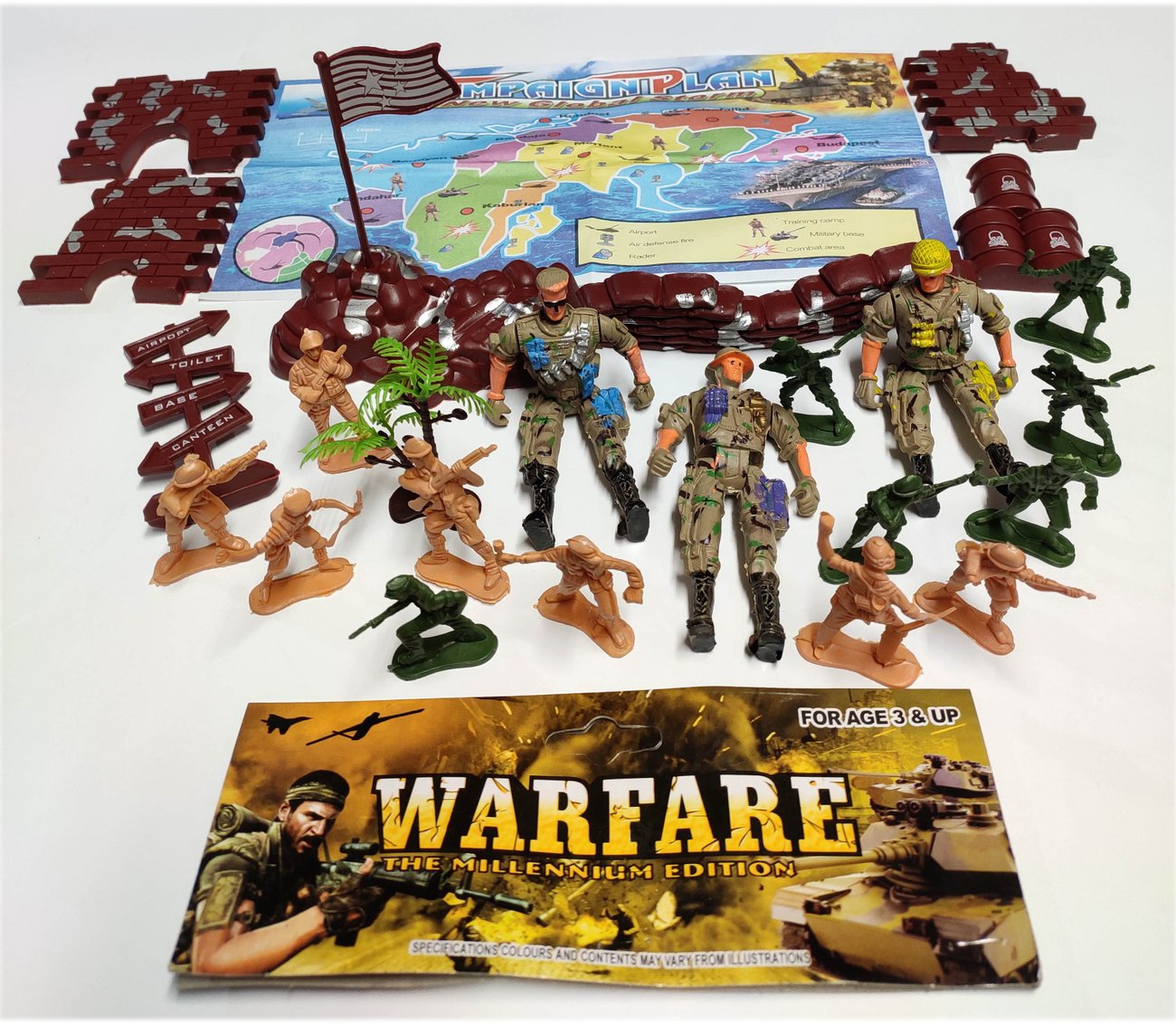 Детска играчка Военен комплект Комбат Combat с офицери, войници и крепост