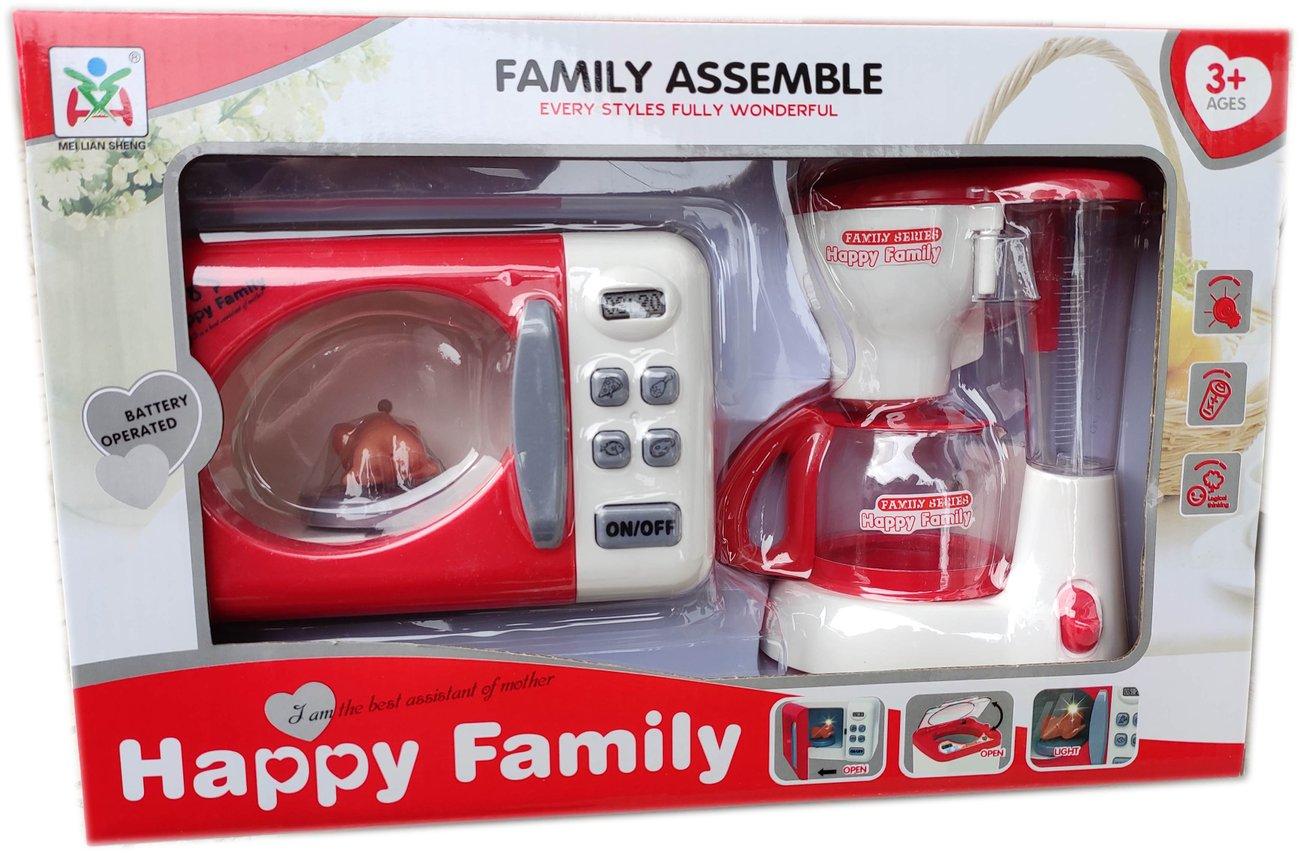Детска играчка Комплект Микровълнова печка и кафемашина със звук и светлина Happy Family