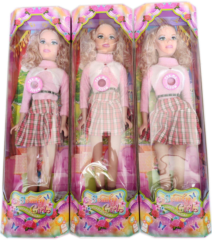 Детска играчка Голяма красива музикална кукла със светлинни ефекти в цветна подаръчна опаковка