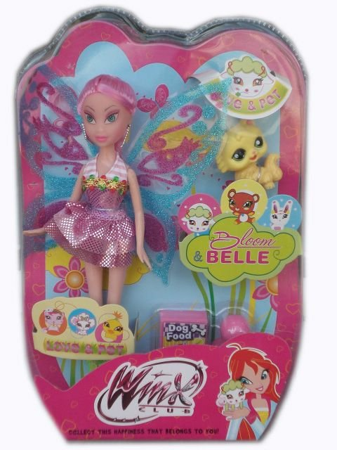 Кукла Уинкс с розова коса и с домашен любимец Winx
