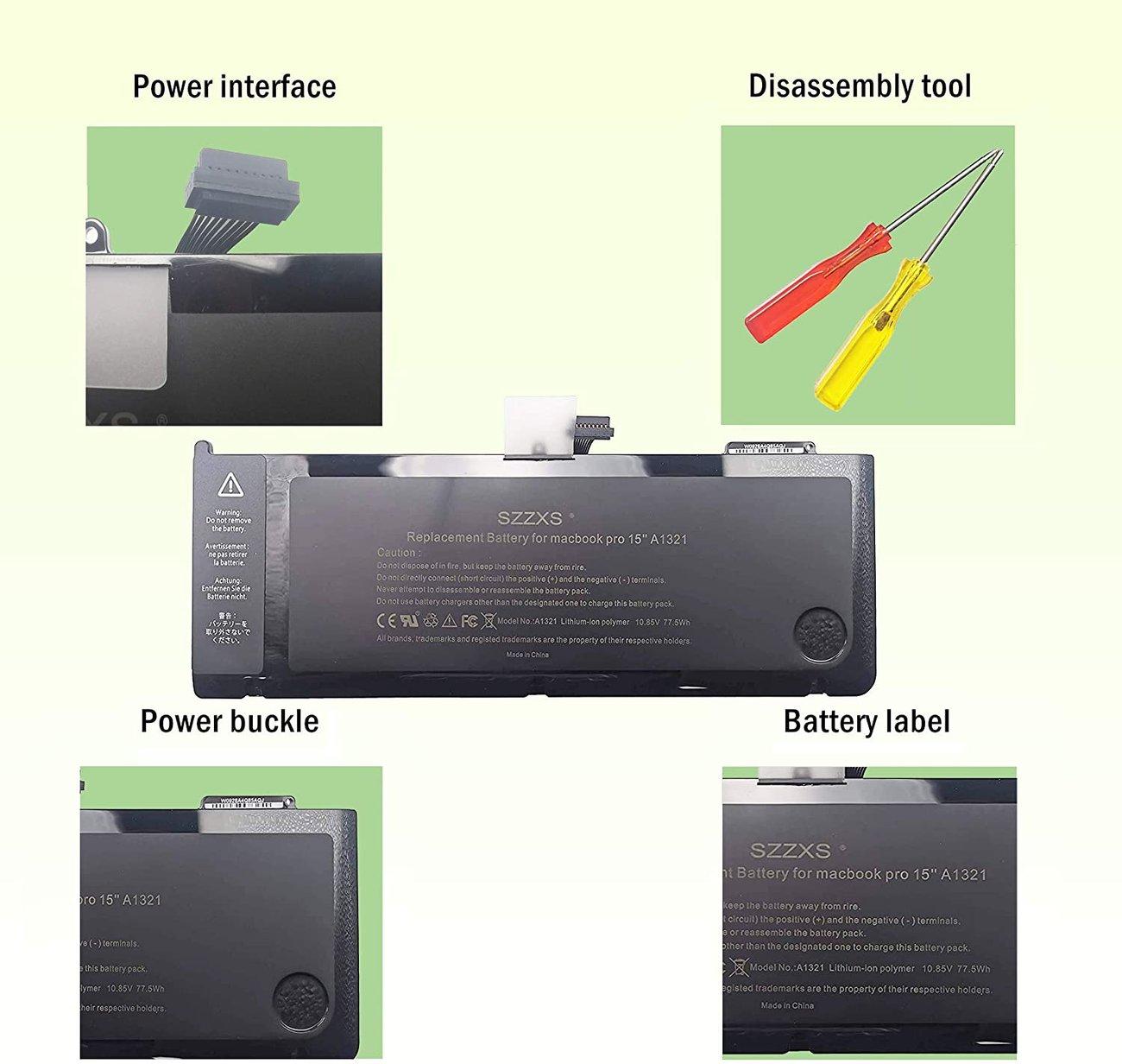 """Батерия SZZXS за Apple MacBook Pro 15"""" модел 5.3 5.4 6.4 (2009-2010) 10.95V 73Wh"""