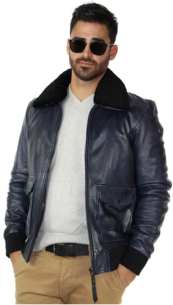Мъжко кожено яке Redskins Pilot Victory S естествена Агнешка кожа авиаторското яке