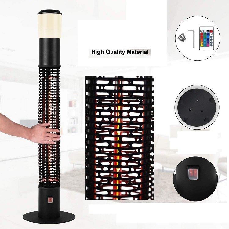 Електрическа печка Star Patio ZHQ 1588-RDM с инфрачервен нагревател външна колона LED светлини Bluetooth