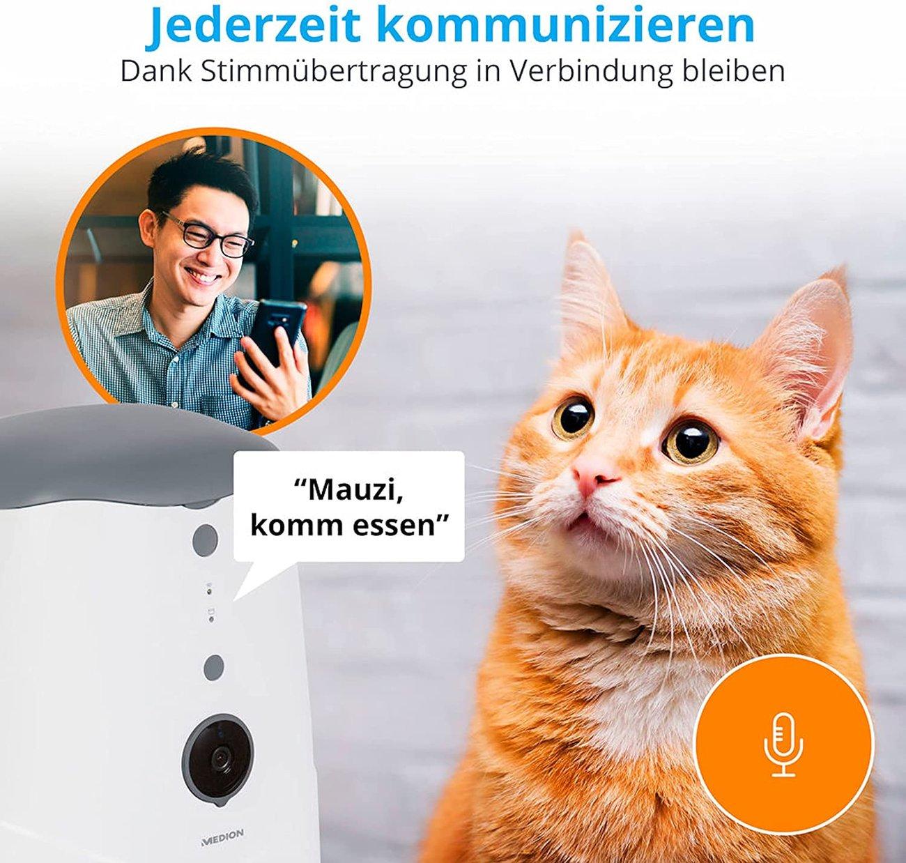 Автоматична хранилка за кучета и котки MEDION Smarter Futterautomat MD60228 HD Video Camera Wi-Fi