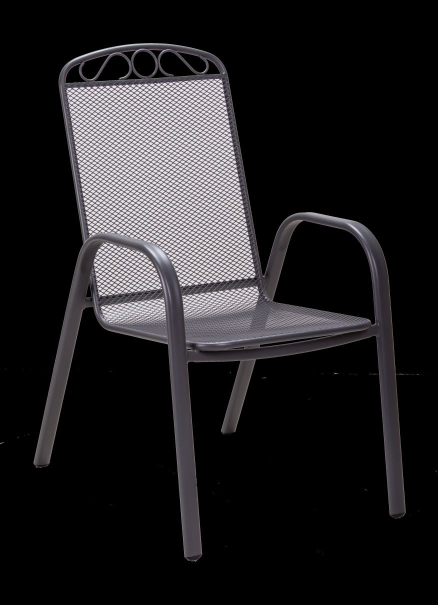 Градински стол MELFI с подлакътници, сив