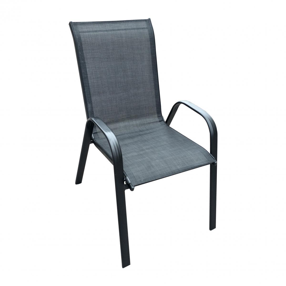 Метален стол, черен текстилен