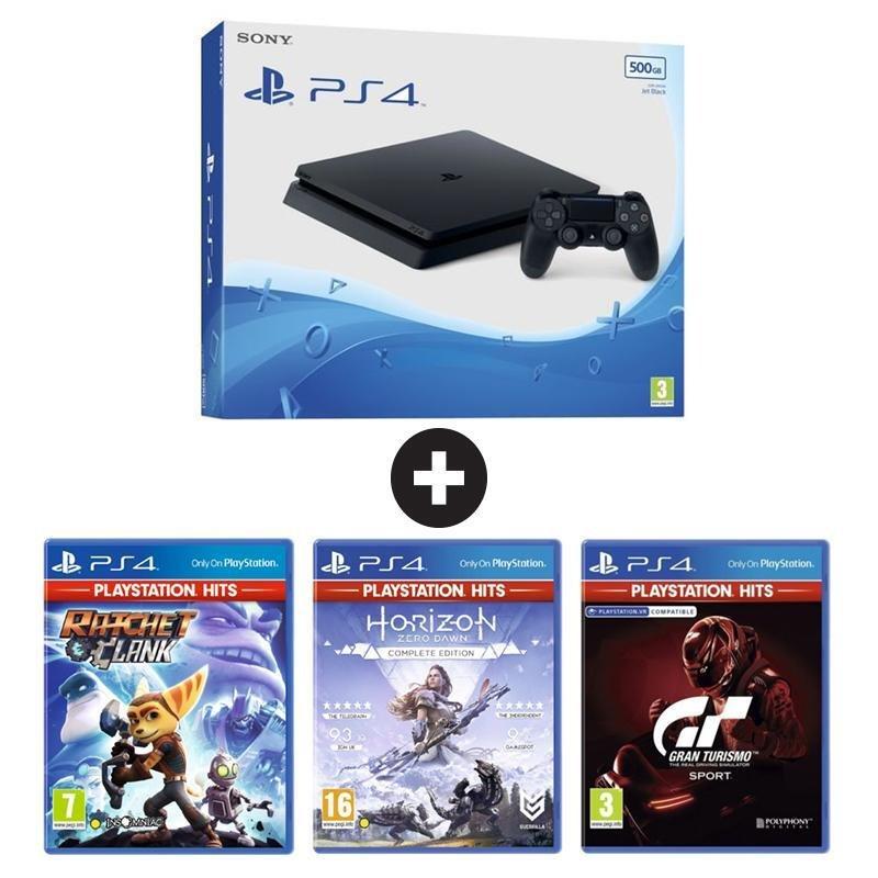 Конзола PlayStation 4 SLIM 500GB + 3 игри (GT SPORT/HZD CE/R&C)