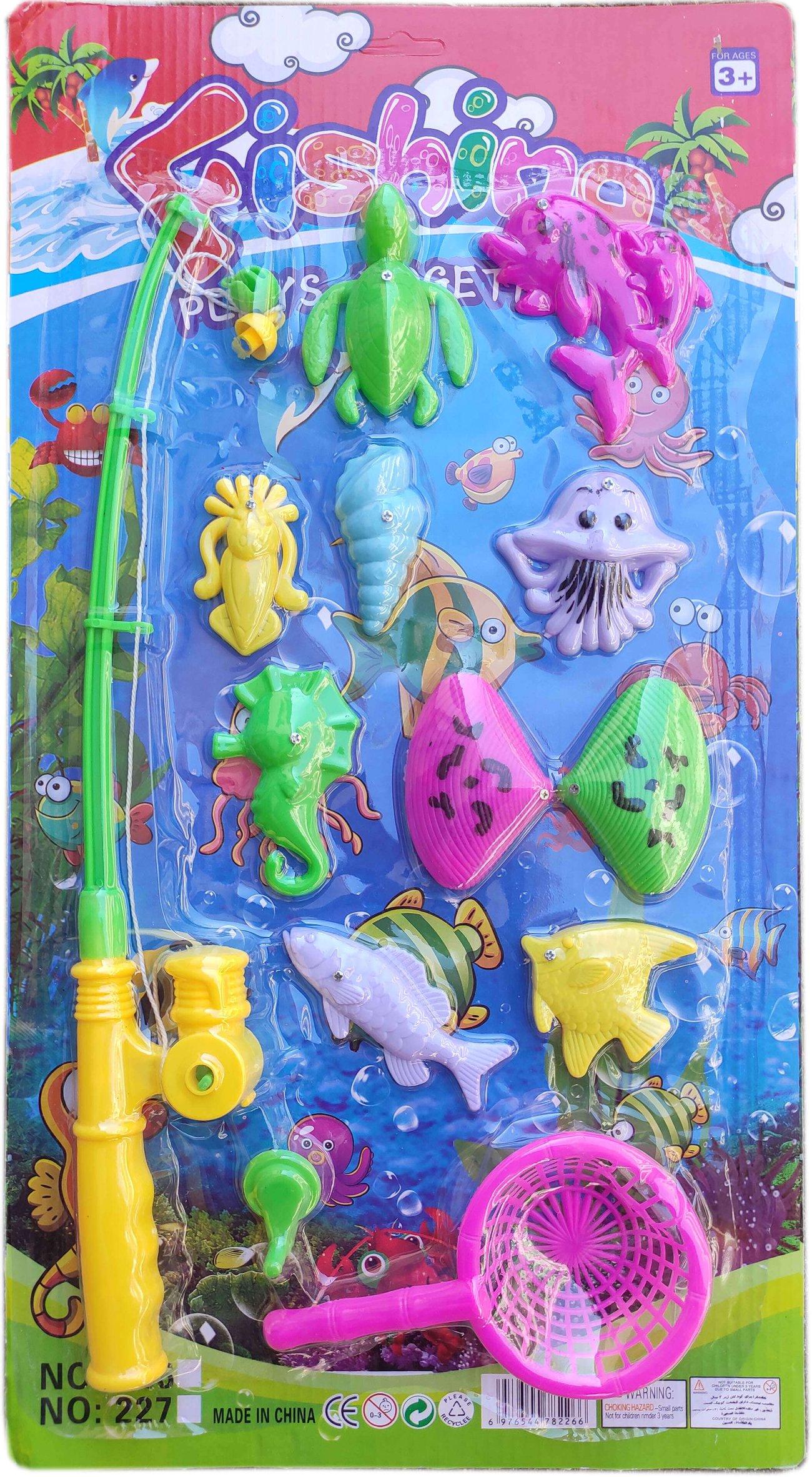 Детска играчка комплект Въдица с риби и кепче 13 части