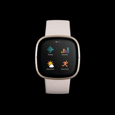 Смарт часовник Fitbit SENSE Lunar White/Soft Gold FB512GLWT , 1.58 , 4