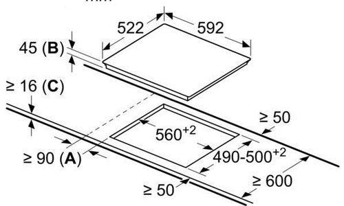 Стъклокерамичен Плот за вграждане Bosch PKE611D17E